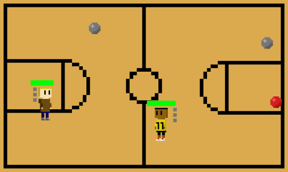 A screenshot from my dodgeball-themed fighting game.